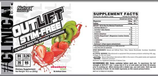 Nutrex Outlift Stim Free Ingredients
