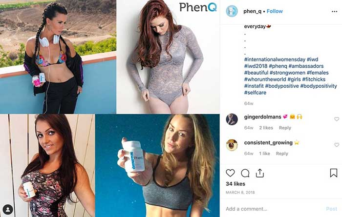 Instagram images of Phen Q. Natura; ingredients with no side effects