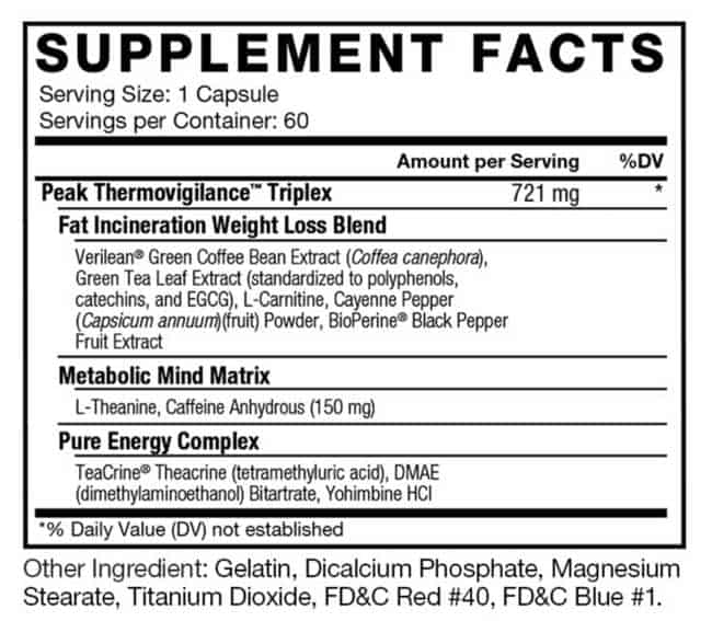 what is in LeanFire XT - supplement label
