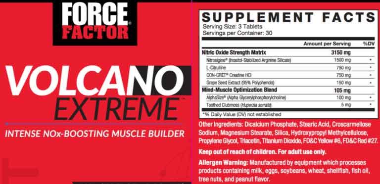 VolcaNO Extreme ingredients label